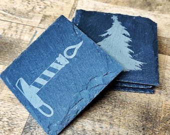 4-Set Slate Coasters with Laser Engraving | Motif Christmas or personalized