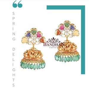 Latest Polki jewelry Anavarnabyjaya Pure Silver Polki Studs Bandhanemporio