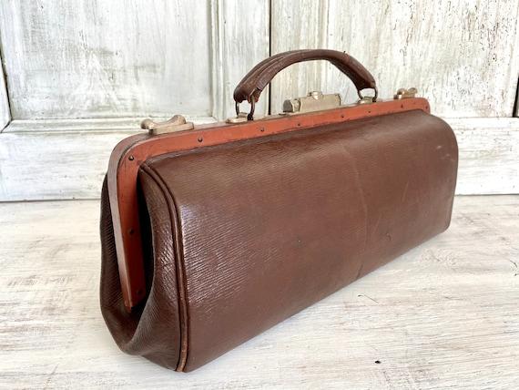 Leather Gladstone bag Hardoy, 1910s Vintage Docto… - image 3