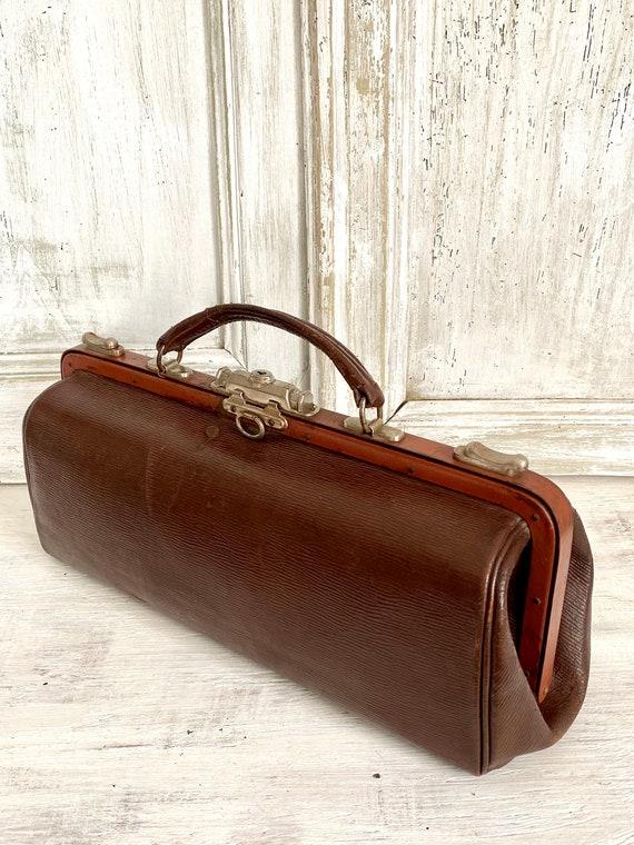 Leather Gladstone bag Hardoy, 1910s Vintage Docto… - image 4
