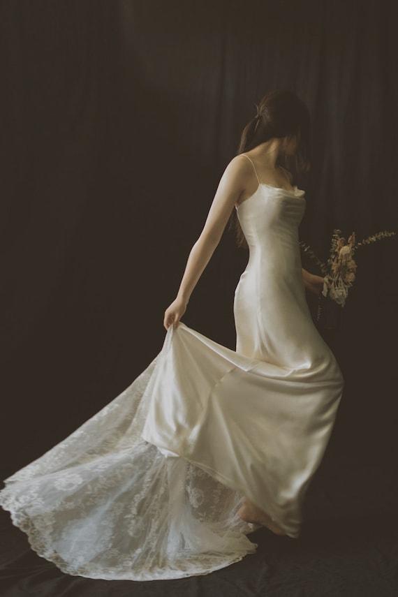 Sexy Simple Wedding Dress - Spaghetti Straps - Ivory Bridal Gown - Trumpet Wedding Dress - Beach Wedding Dress - Satin Wedding Dress
