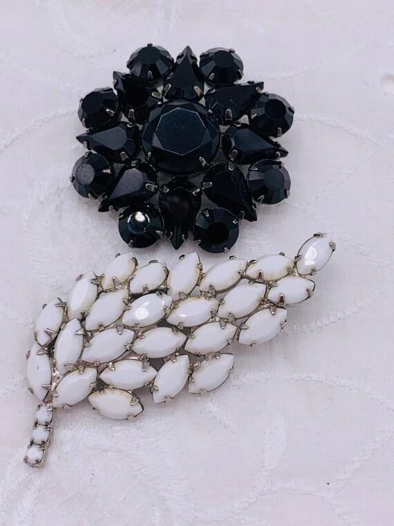 Black and White Vintage Pin Pair of Vintage Brooch