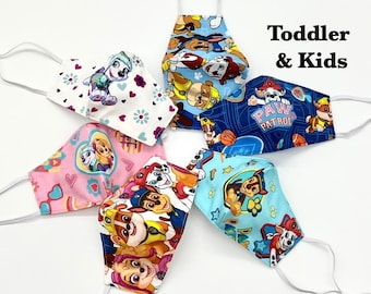 Paw Patrol Face Mask. Toddler &  Kids Size.   3 LAYERS.  Filter Pocket.  Headstrap.  Boys and Girls