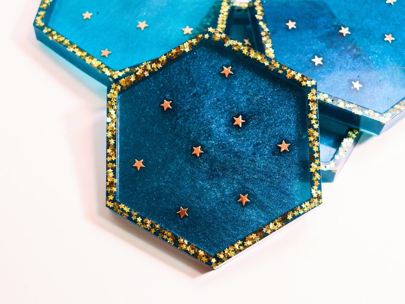 Individual or Set Gold Starry Night Resin Coasters