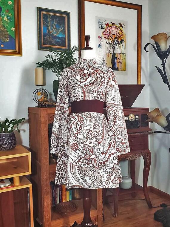 Vintage Psychedelic Paisley Vicky Vaughn Dress
