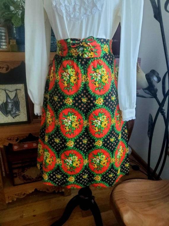 Vintage 70s Corset Folk Print Cottagecore Skirt - image 1