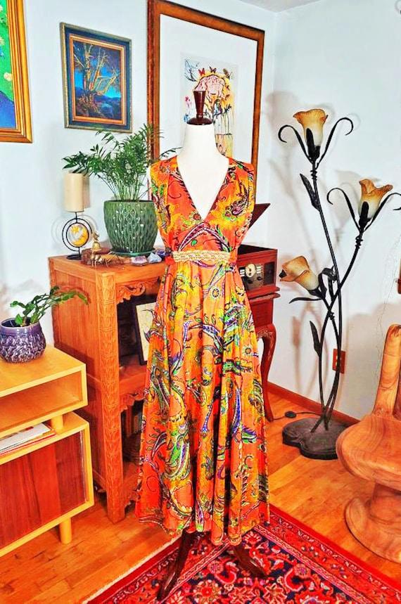 70's Orange Paisley Beaded Maxi Dress