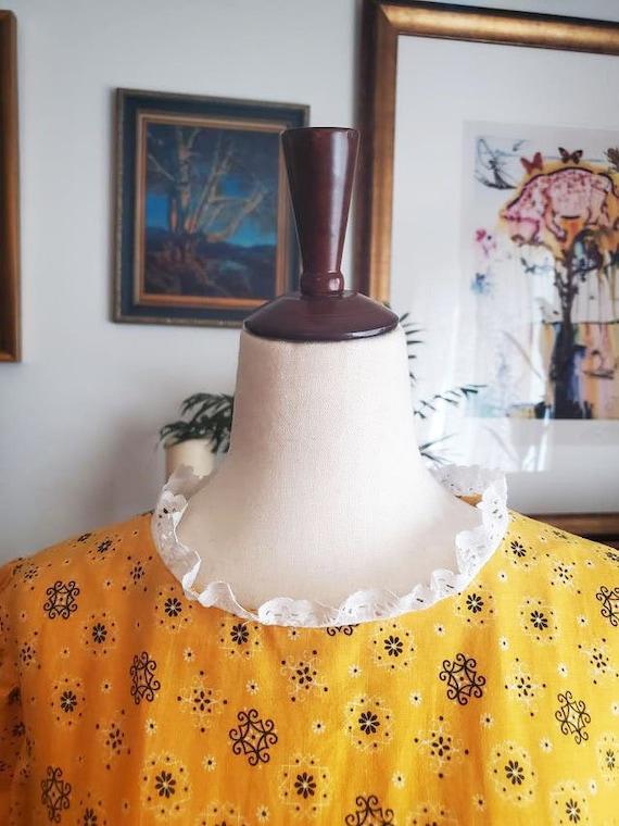 Vintage 1970s Yellow Cottagecore Prairie Maxi Dre… - image 3