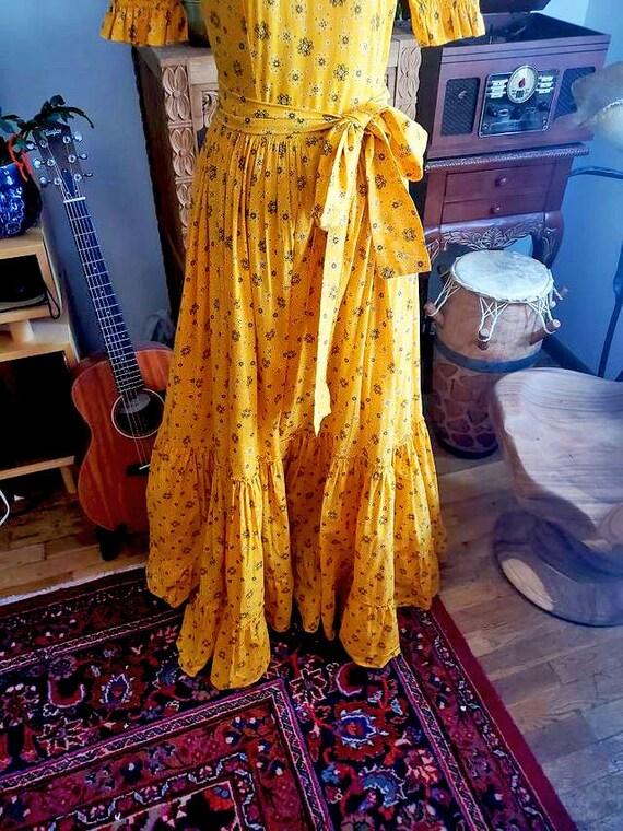 Vintage 1970s Yellow Cottagecore Prairie Maxi Dre… - image 5