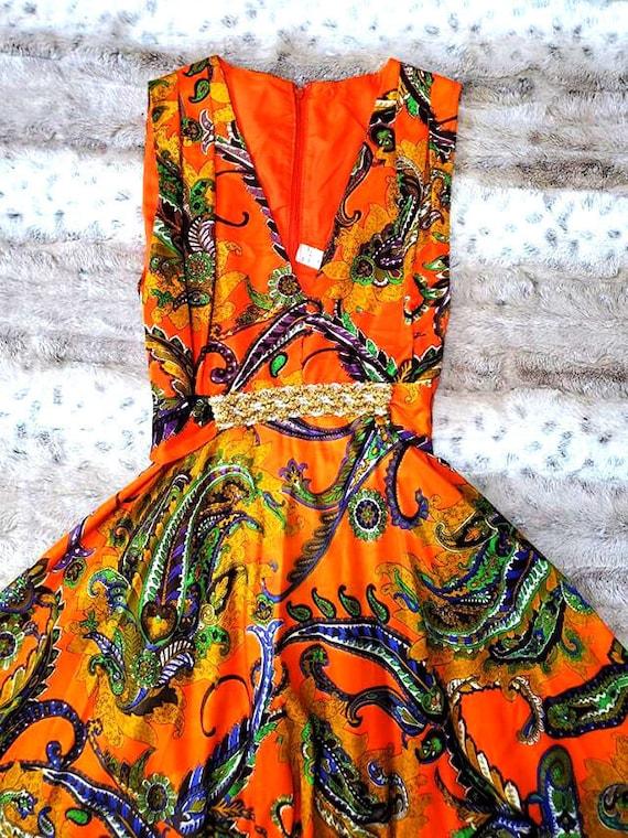 70's Orange Paisley Beaded Maxi Dress - image 2