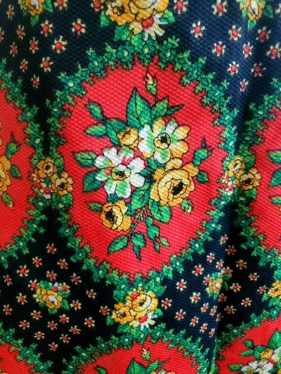 Vintage 70s Corset Folk Print Cottagecore Skirt - image 3