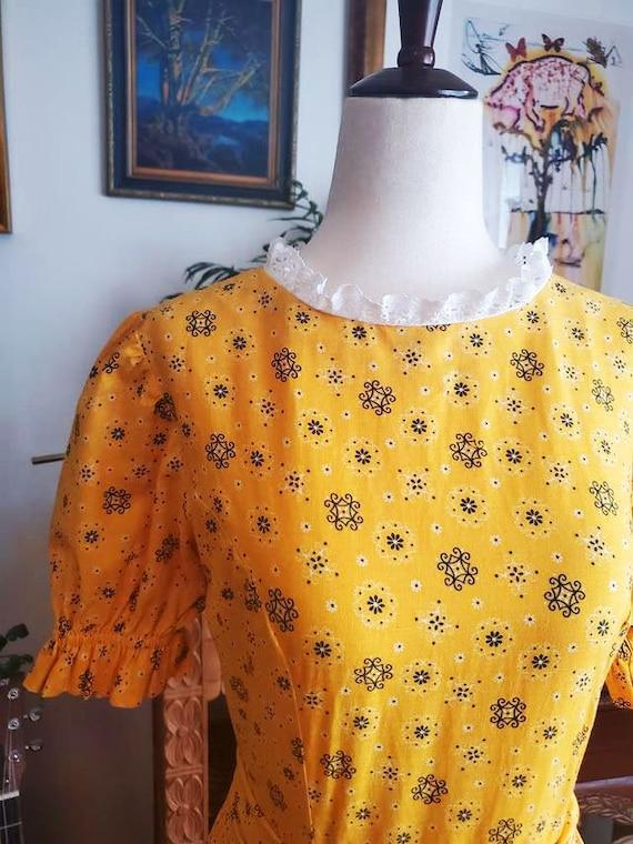 Vintage 1970s Yellow Cottagecore Prairie Maxi Dre… - image 4