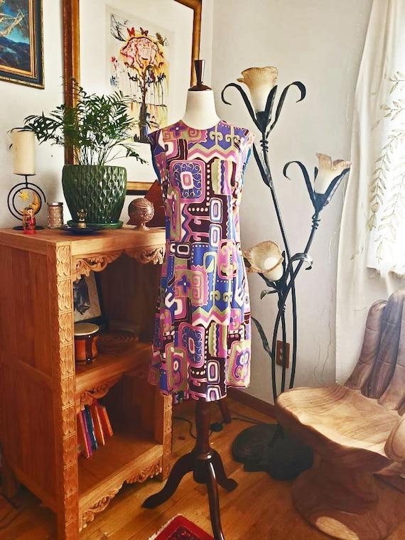 Vintage 60s Purple Colorblock Shift Dress