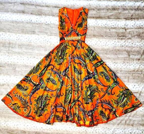 70's Orange Paisley Beaded Maxi Dress - image 3