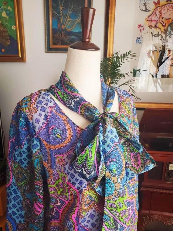 Vintage 60s Does 20s Paisley Drop Waist Dress