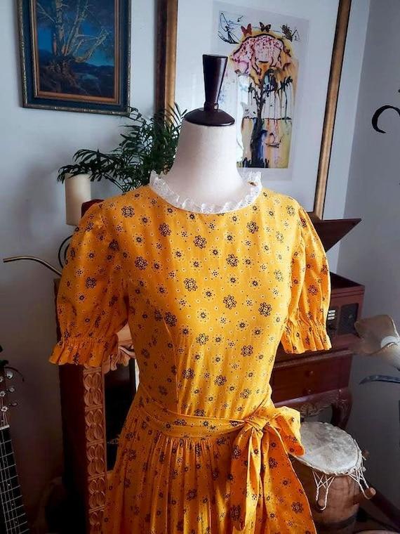 Vintage 1970s Yellow Cottagecore Prairie Maxi Dre… - image 2