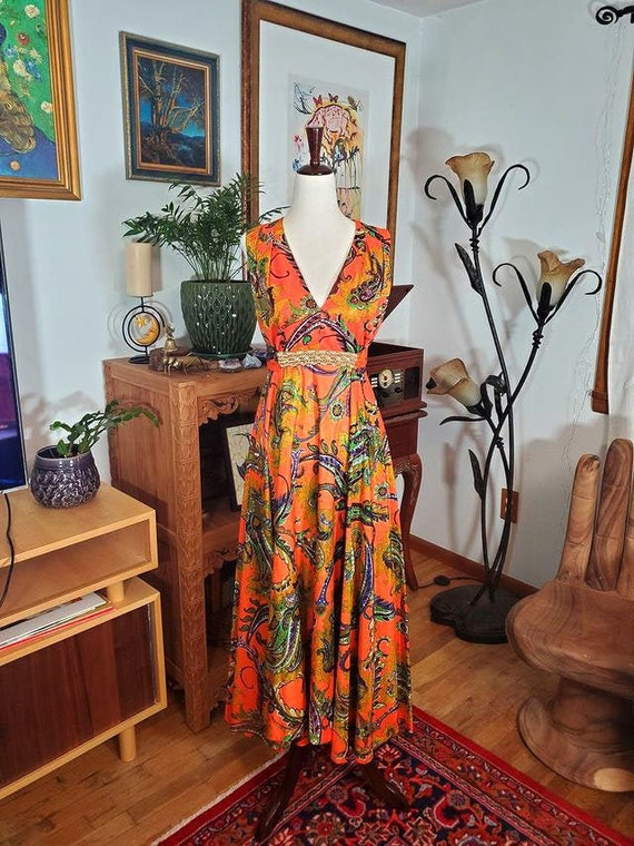 70's Orange Paisley Beaded Maxi Dress - image 1