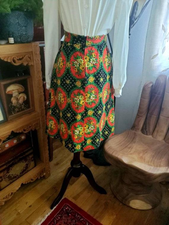 Vintage 70s Corset Folk Print Cottagecore Skirt - image 5