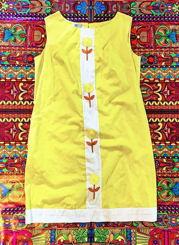 Yellow 60's Flower Power Shift Dress L