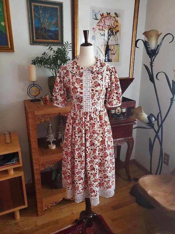 Vintage Floral Cottagecore Dress