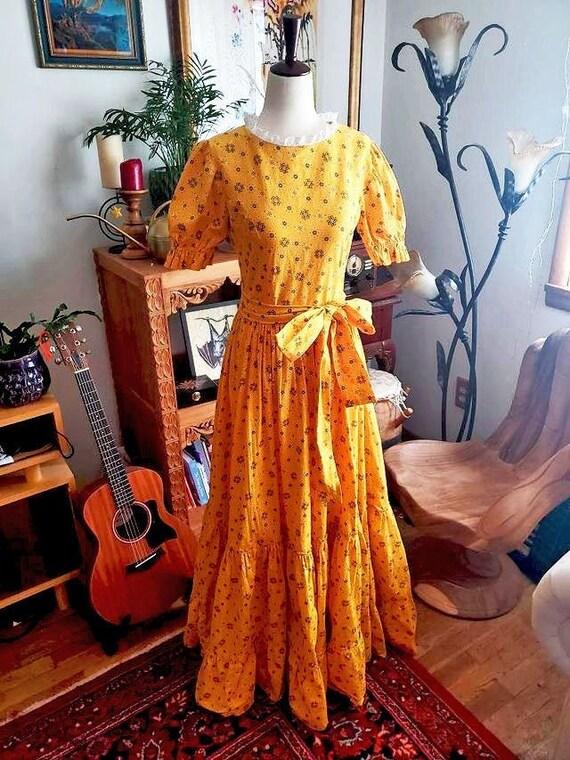 Vintage 1970s Yellow Cottagecore Prairie Maxi Dres