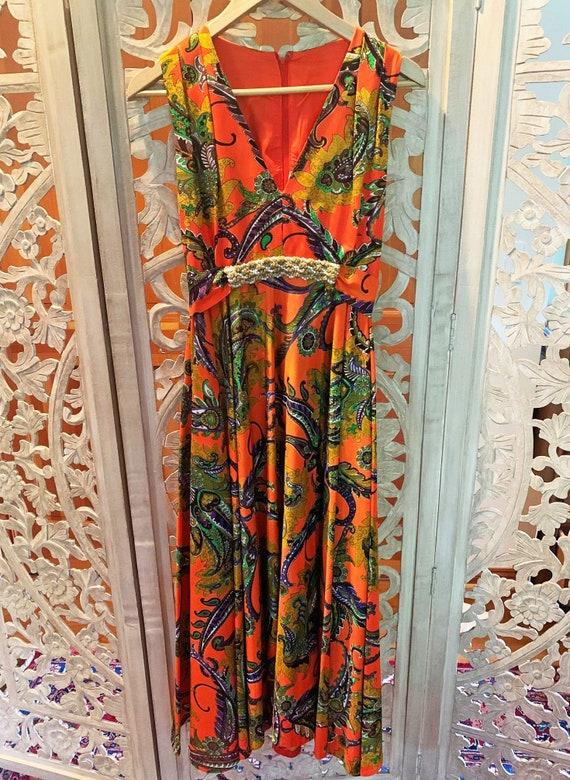 70's Orange Paisley Beaded Maxi Dress - image 5