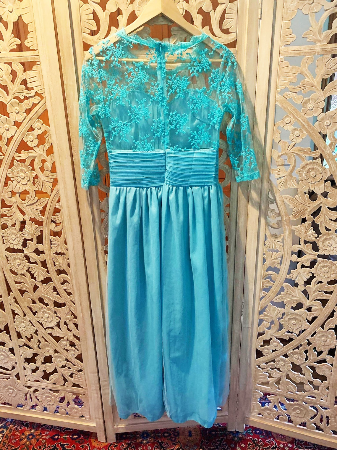 1950's Blue Lace Maxi Formal Dress M