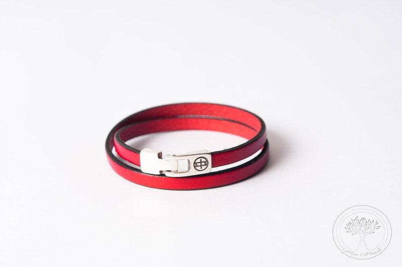leather bracelet made in France Women/'s leather bracelet French handicrafts women/'s jewellery handmade brown leather bracelet