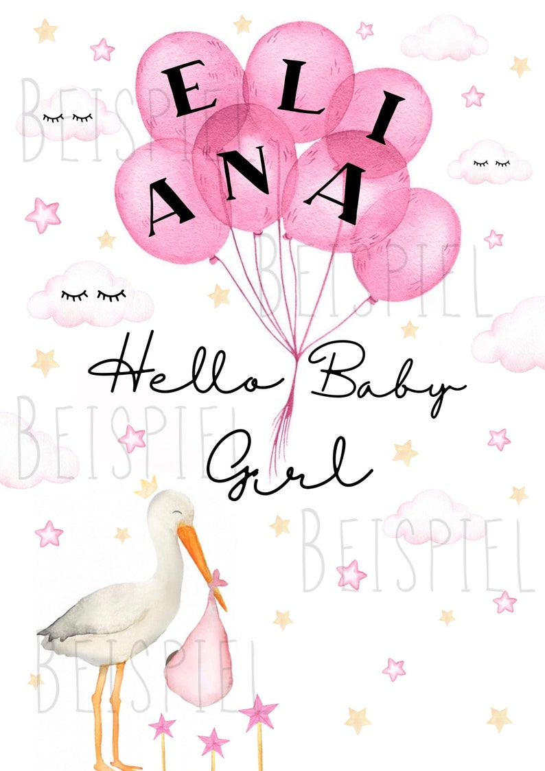Welcome Card Baby Girl Pink Stork