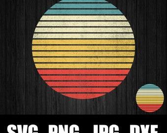 instant download Retro sunset circle bundle transparent background commercial use SVG PNG JPG