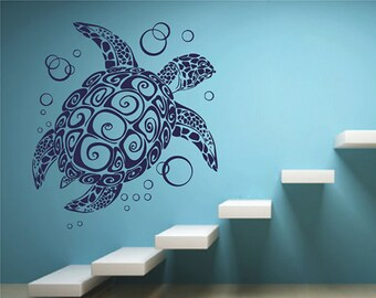 Removable decals Turtle Wall Art Turtle and bubbles Wall Decal sea turtle Vinyl Sticker Turtle Wall Decor Free Shipping