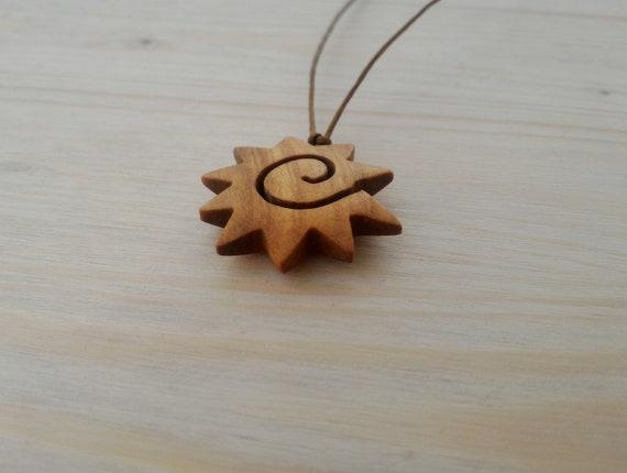 Sun Pendant Wooden Jewel Ethnic Necklace Pendant Sun Wooden Pendant