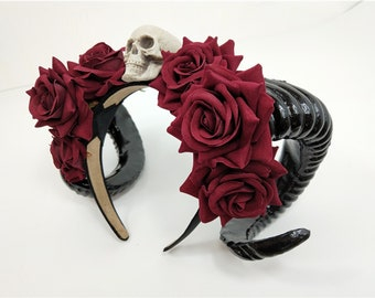 Red horns headdress with roses and beads