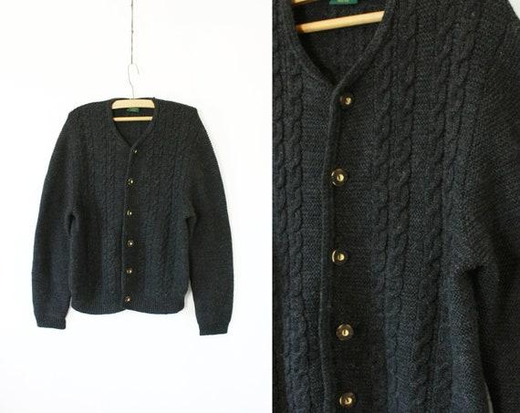 Men's Wool Knit Trachten Cardigan, Vintage 80's 90