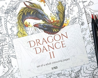 Dragon Dance 2 - Printed set of 4 dragon coloring pages, adult coloring book pages, fantasy coloring for adults, adult watercolor coloring