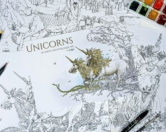 Unicorns - Printed set of 3 adult coloring pages, unicorn coloring book pages, fantasy coloring for adults, adult girl watercolor coloring