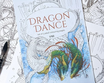 Dragon Dance 1 - Printed set of 3 adult coloring pages, dragon coloring book pages, fantasy coloring for adults, adult watercolor coloring