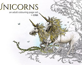 Unicorns set of 3 adult coloring pages, coloring book pages, fantasy coloring book, unicorn coloring for adults, magic coloring for girls