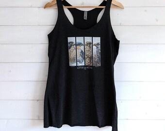 Birds of prey women's racerback tank, bird print tank top women's sportswear hawk print women's top gym shirt with eagle print fitness shirt