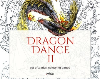 Dragon Dance 2 - Set of 4 dragon coloring pages, adult coloring book pages, printable fantasy coloring for adults, fantasy creature coloring