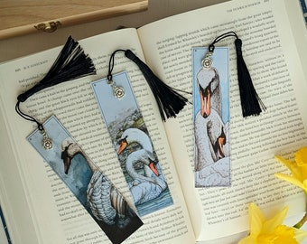 Swans of Ireland Paper Bookmark with tassel and rose charm, set of 3 - swan artwork bookmarks bird lover gift for her, romantic gift