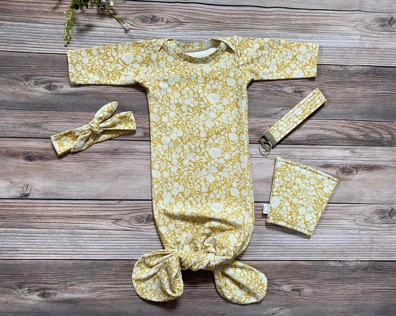 0-3 Months Mustard Floral Baby Gown