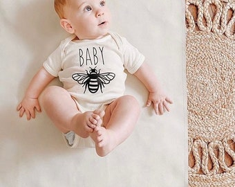 Bee HappyBaby GiftCustomizable OnesieBaby ApparelCute OnesiesOnesies for BabiesBaby ClothesBaby Creepers Baby Onesie