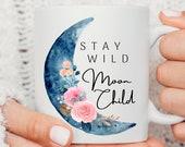 Mystical Mug, Moon Child, Celestial Mug, Witch Mug, Personalised Moon Mug, Spiritual Gifts, Birthday Gift, Costum Mug, Name Cup,