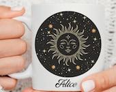 Mystical Mug, Moon Child, Celestial Mug, Witch Mug, Personalised Sun Mug, Spiritual Gifts, Birthday Gift, Costum Mug, Name Cup,