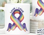 Love is Love Mug, LGBT+ Rainbow Flag, Pride Month Cute Coffee Mug, Watercolor Flag, LGBT I Love Mugs, Pride Gift Mug, Pride Gift, LGBTQ+