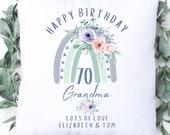 Personalised 70th Birthday Cushion, Name Cushion, Age Birthday Gift, Keepsake Special Age Birthday 70th Pillow, Mum Nanny Grandma