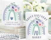 Personalised 70th Birthday Mug, Best Nana Ever mug, Best Grandma Mug, Nanny coffee cup, Grandmother gift, Nana Gift Idea, Birthday Gift