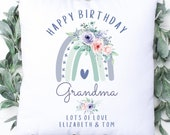 Personalised Birthday Cushion, Name Cushion, Age, Birthday Gift, Special Age Birthday 100th Pillow Mum, Daughter, Grandma, Birthday Gift