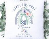 Personalised 80th Birthday Cushion, Name Cushion, Age Birthday Gift, Keepsake Special Age Birthday 80th Pillow, Mum Nanny Grandma